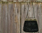 60's vintage evening bag -  black velvet -  gold chain -  by Freestyle Collection