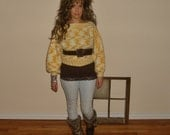 Vintage crochet knit sweater -  puff poet sleeves -  by Freestyle Collection