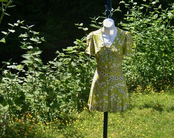 70's pixie mini dress -  puff sleeves -  by Freestyle Collection