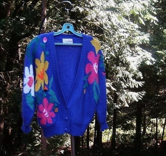 80s vintage novelty sweater / cardigan sweater / 80s cardigan sweater