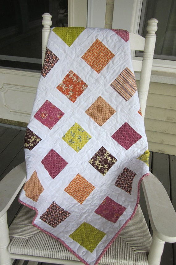 Pink Square in a Square Baby Quilt