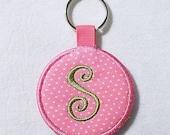Monogrammed Fabric Key Chain,  Pink Polka Dot Keychain, Key Fob