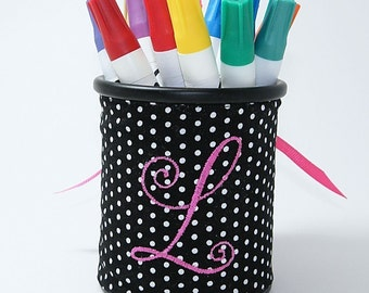 Black Swiss Dots Corset Monogrammed Pencil Cup