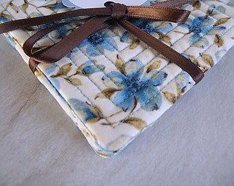 Quilted Fabric Coasters Set of 4 - Floral Blues