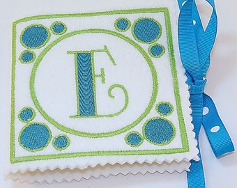 Monogrammed Needle book Lime Green and Aqua, Needle case