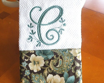 Monogrammed Kitchen Towel-Teal and Cream Floral Kitchen Towel