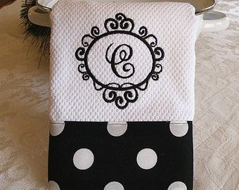 Monogrammed Kitchen Towel, Personalized Dish Towel, Black with Large White Dots
