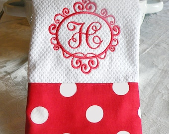 Monogrammed Kitchen Towel - Red with White Polka Dots Towel