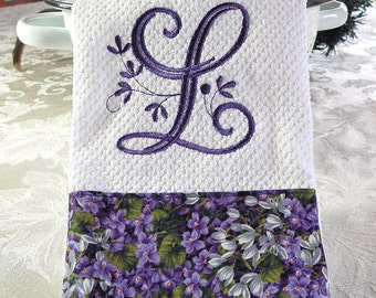 Monogrammed Kitchen Towel, Purple Floral Monogrammed Towel