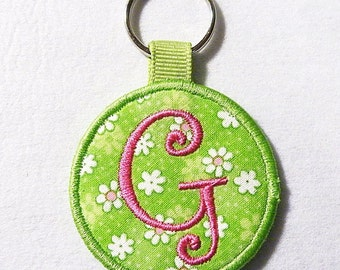 Monogrammed Keychain,  Lime Green Floral Key Chain, Key Fob