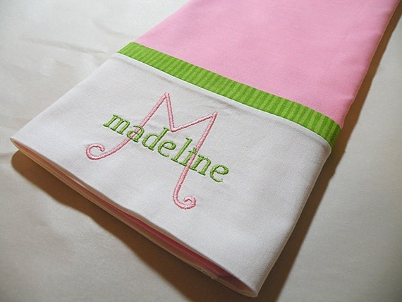 Pink Personalized Pillowcase, Embroidered Pillowcase
