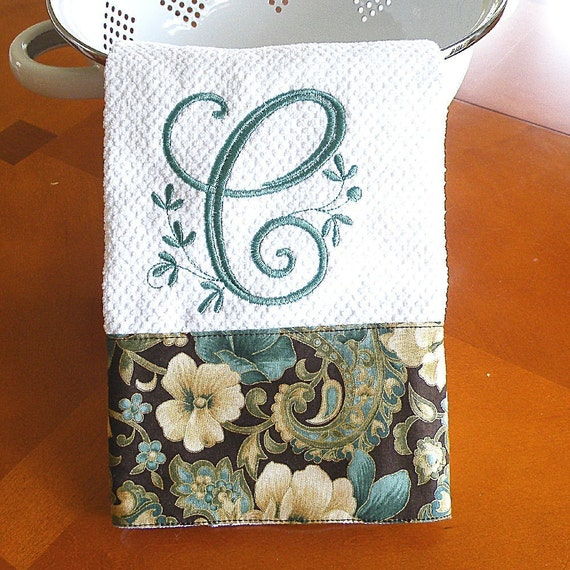 Monogrammed Kitchen Towel Teal And Cream Floral Kitchen Towel
