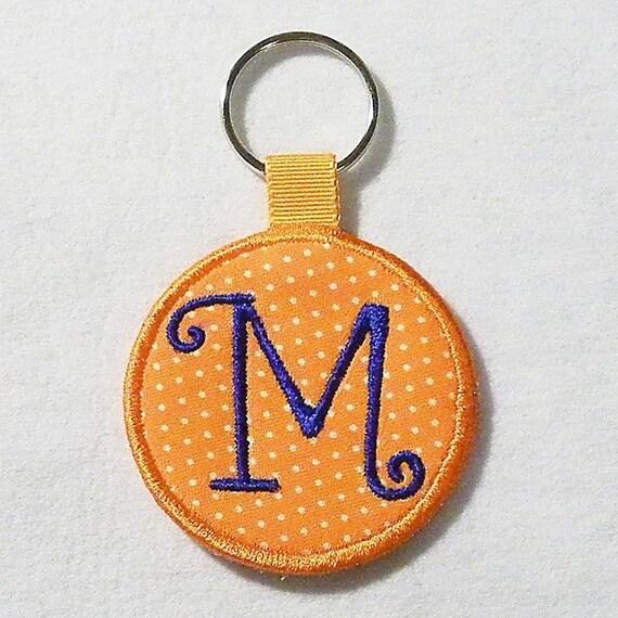 Monogrammed Keychain, Personalized Keychain, Orange Polka Dots Key Chain