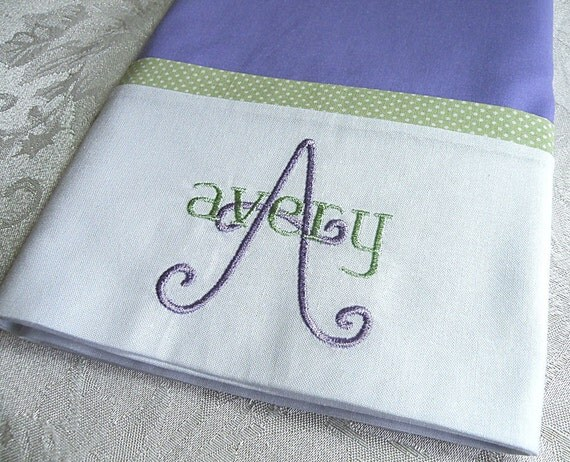 lavender personalized pillowcase embroidered pillowcase