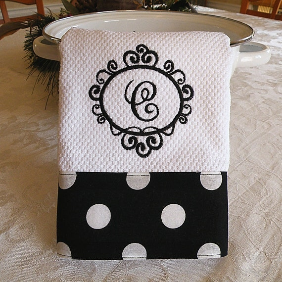 Embroidered Towels Custom: Monogrammed Kitchen Towel Personalized Dish By