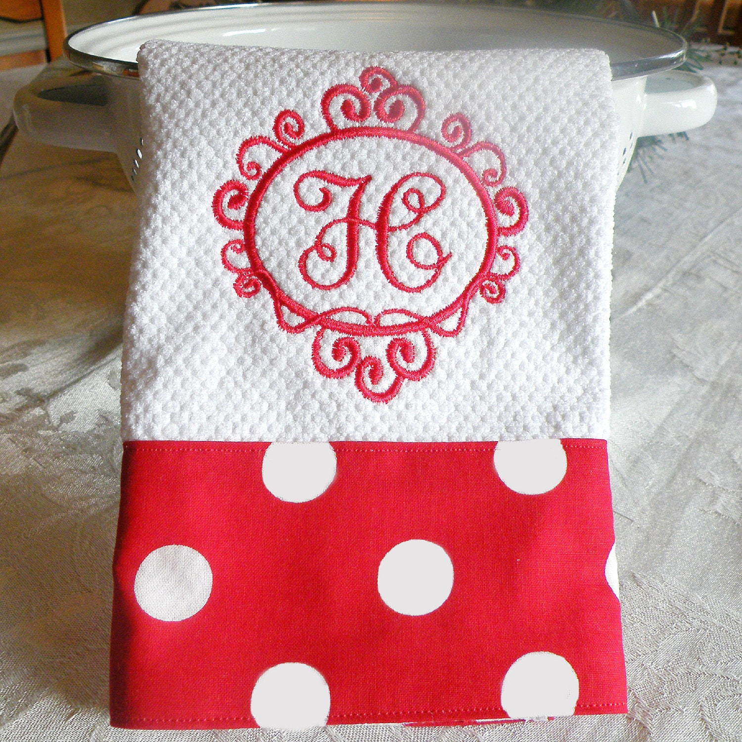 Monogrammed Kitchen Towel Red With White Polka Dots Towel