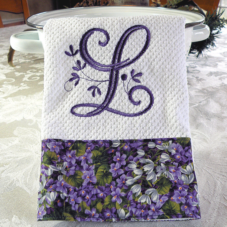 Monogrammed Kitchen Towel Purple Floral Monogrammed Towel