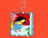 ON SALE-Vintage Storybook Soldered Glass Collage Art Pendant