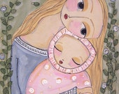painting original acrylic baby child, mother infant whimsical love