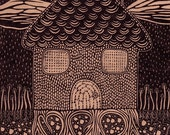 Rooted - Linocut Relief Print - house / home / roots / brown / landscape / settle