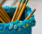 felted wool glass vase pencil holder turquoise bubbles