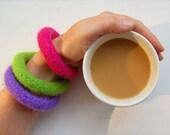 felted wool bangle bracelets set of three brights lime fuchsia periwinkle