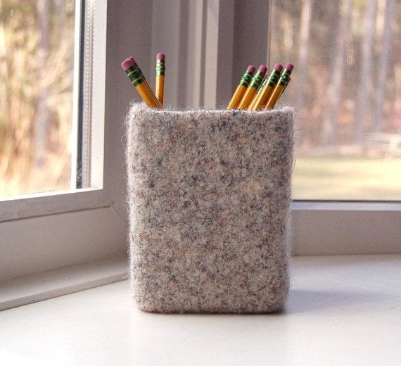 felted wool glass vase pencil holder