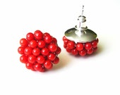 red studs, red stud earrings, small stud earrings, red earrings cluster earrings