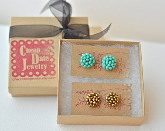 Stud Earrings, round studs, gift, gifts for her, bridesmaid earrings, casual jewelry, black, turquoise, small stud earrings