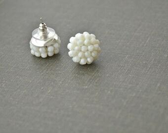 White earrings - White stud earrings - White post earrings - White posts - White studs cluster earrings