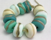 Handmade Lampwork Glass beads - Organic Essentials etched rolos - Mermaid
