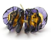 Fairy Flowers  handmade lampwork  glass beads - floral disks - Iris