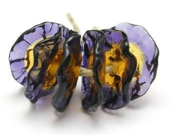 Fairy Flowers  handmade lampwork  glass beads - floral disks - Iris