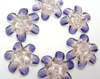 Handmade Lampwork Glass Beads - Fairy Blossoms disk flower beads in pink and violet