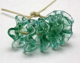 Handmade Lampwork Glass Beads - Fairy Skirts ruffled discs - Sea Mist