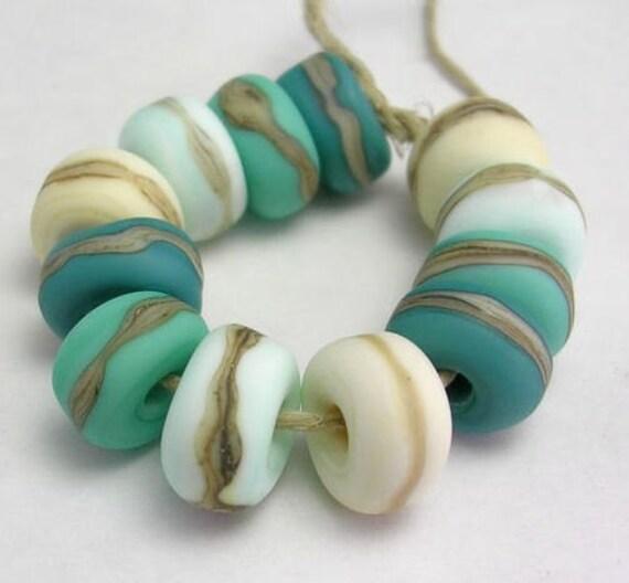 Handmade Lampwork Glass beads - Organic Essentials etched rolos - Mermaid