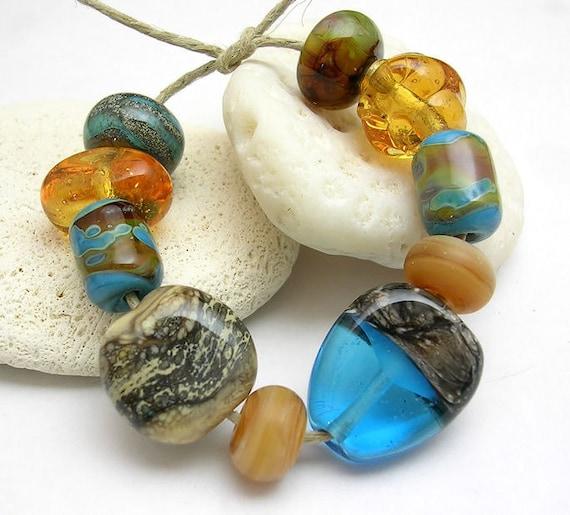 Handmade Lampwork Glass Beads - Beach Baubles