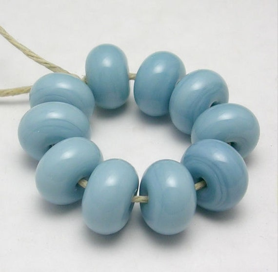 Prarie Sky Blue - (10 spacers) Handmade Lampwork Glass Beads