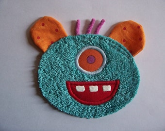 One Eye Orange Ear Blue Monster Patch