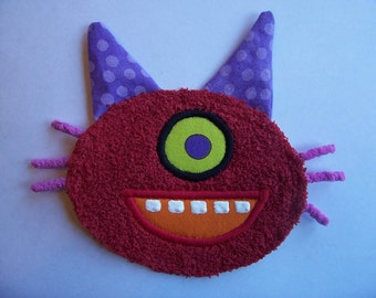 One Eye Purple Polka Dot Ear Red Kitty Patch