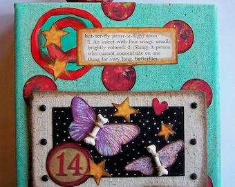 Butterfly Bones 6 x 6 canvas collage
