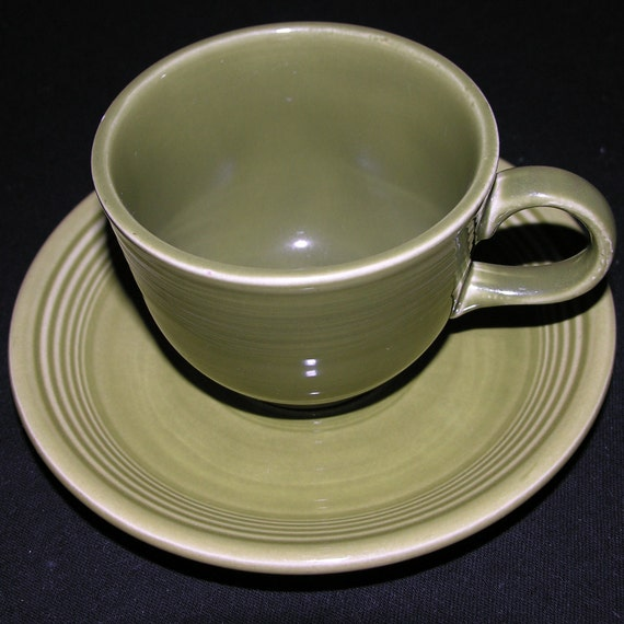 Turf Green Ironstone Fiestaware teacup and saucer
