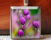 JUMP Into Spring 15 percent off sale, Scrabble Tile Pendant, FIELD OF TULIPS, BEAUTIFUL LIGHT LAVENDER PURPLE, No. 541 by Jenifersfamilyjewels on Etsy