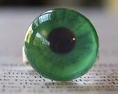 JUMP Into Spring 15 percent off sale, Acrylic Bubble Ring, GREEN EYEBALL, No. 686 by Jenifersfamilyjewels on Etsy