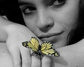Butterfly Ring - Big Yellow and Black Monarch Feathers by Jenifersfamilyjewels on Etsy