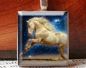 Scrabble Tile Pendant, WHITE HORSE Amongst the Stars, No. 1375 by Smash Gardens on Etsy, Bridesmaids Gifts, Stocking Stuffers