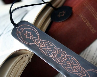 Personalized Bookmark - Copper  Custom Engraved Celtic Celestial Hand Engraved Personal Gift