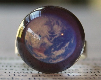 Acrylic Bubble Ring, PLANET EARTH, No. 677 by Smash Gardens on Etsy, Stocking Stuffers, Bridesmaids Gifts, Galaxy Jewelry, Statement Ring