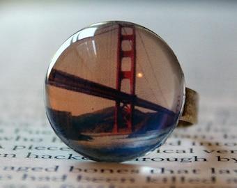 Acrylic Bubble Ring, Golden Gate Bridge, San Francisco, Bridesmaids Gifts, San Francisco