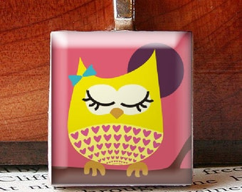 Scrabble Tile Pendant, Cute Girly Owl on a Branch, Bridesmaids Gifts, Stocking Stuffers